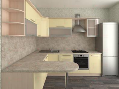 Кухня угловая из пластика Елена 10-10