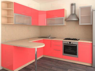 Кухня угловая из пластика Елена 10-9 - дополнительное фото