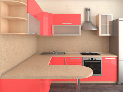 Кухня угловая из пластика Елена 10-9