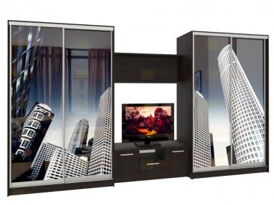 Шкаф-купе 4-х дверный с нишей под телевизор