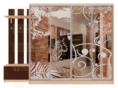Шкаф-купе 4-х дверный с пескоструйным рисунком Модерн 460 К10 - дополнительное фото